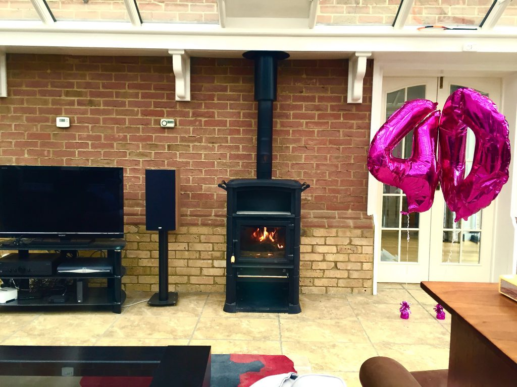 Twin wall flue system in a conservatory with a Franco Belge stove, Caterham.